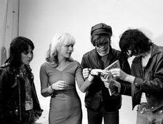 Joan Jett, Debbie Harry, David Johansen and Joey Ramone *attend a friend's punk rock wedding in the 1970s ( http://www.rollingstone.com/music/pictures/joey-ramone-through-the-years-20120409/a-punk-wedding-0553492.)  via Somebody Stole My Thunder: A Right Pair
