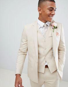 Wedding Suits ASOS DESIGN wedding skinny suit jacket with square hem in stone Tuxedo Wedding, Wedding Men, Wedding Attire, Wedding Dresses, Wedding Beach, Mens Cream Wedding Suits, Mens Cream Suit, Cream Suits For Men, White Wedding Suit