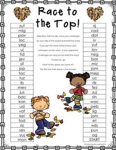 Teach Your Child to Read - Nonsense Word Race to the Top is a NO PREP set of games to practice NWF for DIBELS. Just print and play! :) - Give Your Child a Head Start, and.Pave the Way for a Bright, Successful Future. Reading Centers, Reading Fluency, Reading Intervention, Teaching Reading, Literacy Centers, Guided Reading, Reading Passages, Reading Skills, Nonsense Words