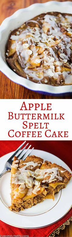 Apple Buttermilk Spelt Coffee Cake - serve this warm for breakfast or as a snack - it's the ultimate essence of Fall ~ http://jeanetteshealthyliving.com