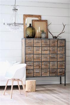 Industrial Farmhouse Storage Drawers....stylish organizing | Friday Favorites at www.andersonandgrant.com
