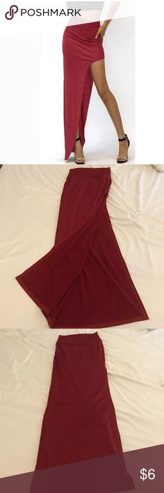 Red Bodycon Maxi Skirt with High Slit -Size Small Garnet Red Bodycon Maxi Skirt with High Slit -Size Small, Slim fit, barely worn. Skirts Maxi