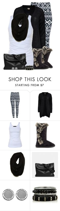 """Boots, Cardigan & Leggings contest"" by cindycook10 ❤ liked on Polyvore featuring H&M, ONLY, Tusnelda Bloch, JustFab, Paula Bianco, Coach and Warehouse"