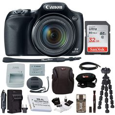 Canon Powershot HS Camera with Deluxe Accessory Kit Price: (as of - Details) Connect and Share With a TouchPowerShot digital cameras with built-in NF. Best Canon Camera, Canon Camera Models, Focus Camera, Canon Cameras, Camera Tips, Gopro, Eos, Rebel, Nikon Digital Slr