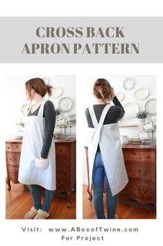 Make this easy cross back apron, or pinafore apron, comfortable in Japanese style - with this free sewing pattern. Japanese Sewing Patterns, Sewing Patterns Free, Free Sewing, Sewing Designs, Pattern Sewing, Sewing Aprons, Sewing Clothes, Diy Clothes, Apron Pattern Free