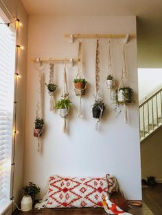 DIY Macrame Plant Wall A garden is far more than an outdoor area with flower . - DIY Macrame Plant Wall A garden is far more than an outdoor area with flower beds, lawns and Pat - Plant Wall Diy, Plant Decor, Hanging Plant Wall, Hang Plants On Wall, Home Decor With Plants, Nature Home Decor, Diy Plant Stand, Diy Hanging, Nature Crafts