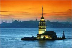 Sunset and the Stranded Islet- one of the most romantic places in Istanbul — at Kız Kulesi. Istanbul Tours, Istanbul City, Istanbul Turkey, Places Around The World, Around The Worlds, Far Away, Wonders Of The World, Places To See, Travel Inspiration
