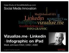 This presentation shares a resume 'Infographic' created with vizualize.me and Linkedin. I use my Linkedin account for the case study so you'll learn more about… Mark Johnson, Infographic Resume, Faia, Case Study, Social Media Marketing, Innovation, Presentation, Ipad, Tools
