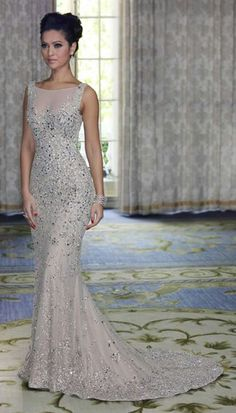 2018 Prom Dresses Round Neck Sequins Mermaid Floor Length Bridesmaid Dresses/Evening Gowns_Bridesmaids Dresses_Wedding Party Dresses_Buy High Quality Dresses from Dress Factory Evening Dress Long, Mermaid Evening Gown, Evening Gowns, Evening Party, Beaded Prom Dress, Tulle Dress, Dress Up, Satin Tulle, Beaded Gown