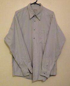 Mens ALFANI Button Front Dress Shirt Light Gray Sz Large Poly Nylon Blend EUC !! #Alfani #ButtonFront