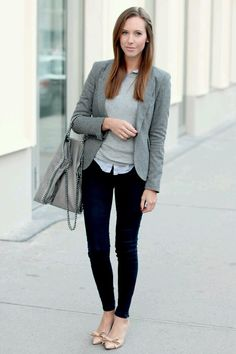 4aeda9a5b8591 Gry Blazer- What to wear to work - 25 Winter Office-Worthy Outfits via  Corporate Fashionista