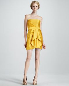 Orly Strapless Pleated Silk Dress by Shoshanna at Neiman Marcus.