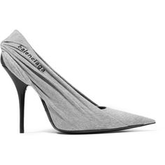 Balenciaga Balenciaga - Knife Embroidered Jersey And Leather Pumps -... ($915) ❤ liked on Polyvore featuring shoes, pumps, wrap shoes, leather jersey, pointy-toe pumps, gray pumps and pointed toe shoes