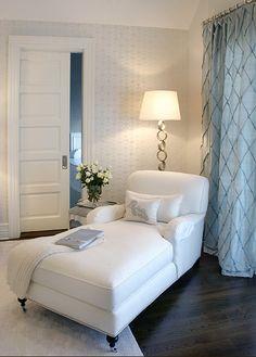 Elsa Soyars: Bedroom corner turned reading nook! Dark wood floors, chenille area rug and cream ...
