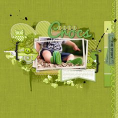 gotta love all the green in this awesome #scrapbook page from Kayleigh at DesignerDigitals.com