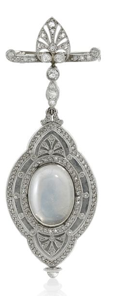 PATEK PHILIPPE   A FINE ART DECO PLATINUM DIAMOND AND MOONSTONE-SET  BROOCH WATCH 1912 | Sotheby's