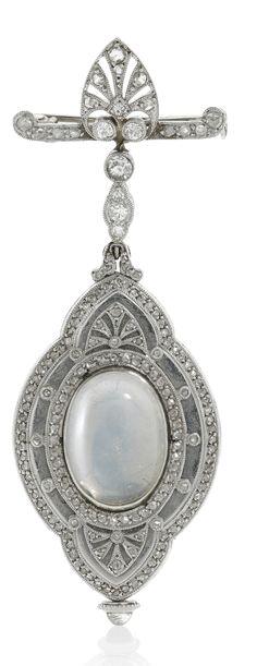 PATEK PHILIPPE   A FINE ART DECO PLATINUM DIAMOND AND MOONSTONE-SET  BROOCH WATCH 1912 | Sotheby's