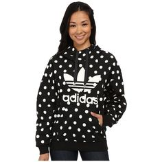 adidas Originals Dots AOP Hoodie Women's Sweatshirt ($70) ❤ liked on Polyvore featuring tops, hoodies, cotton hoodie, hooded pullover, hoodie pullover, cotton sweatshirt and hoodie sweatshirts