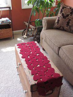 "Valentine hearts table runner idea. 10.5""x41"""