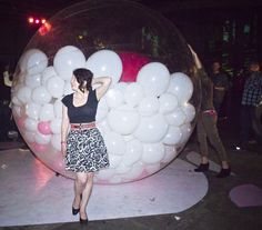 Taking a breath and gawking at the lights after being bopped on the head by the zorb several times.
