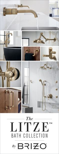 Stunning gold fittings with fine details make an elegant statement. Gather inspiration from the  luxury faucets, shower systems, tub fillers and decorative accessories in the Litze Bath Collection at brizo.com.
