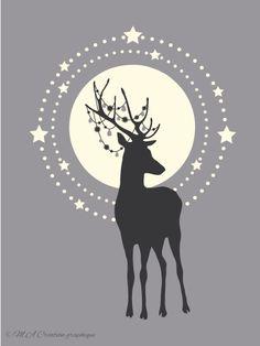 Cerf au clair de lune. Esprit de Noel. M.A Création graphique.