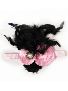Girls Accessories :: Headbands and Hair Bows :: Headbands :: Over The Top Feather Headband Light Pink/Black - Born Fabulous Boutique