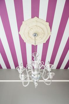 Purple and White Striped Ceiling - bold and unexpected!