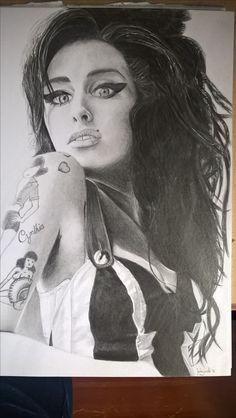 Amy Winehouse rysunek ołówkiem, format A4.