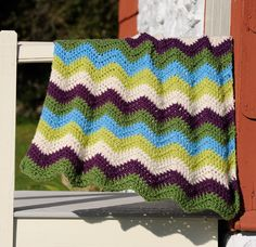 Bright Waves Throw - Free Crochet Pattern With Website Registration - (lionbrand)