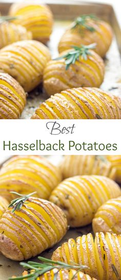 You've got to try these Lightened Up Hasselback Potatoes! They are cute, super flavorful, crispy and absolutely delicious.  via @https://www.pinterest.com/lavenderandmcrn/