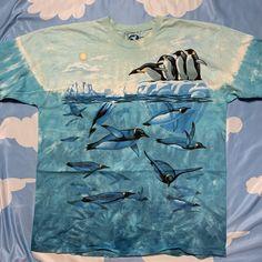 1997 LIQUID BLUE penguins tie dye t shirt Penguin Ties, Sea Punk, Space Princess, Tie Dye T Shirts, Bold Prints, Cover Design, Color Blue, Penguins, Crew Neck