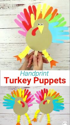 These Thanksgiving Handprint Turkey Puppets are such a fun Fall craft for kids. This Thanksgiving turkey craft's feathers are made from handprints so they're an adorable keepsake! You can also write thankful notes on this turkey handprint craft's tail feathers too. Such a fun Thanksgiving craft to make and play with. #kidscraftroom #thanksgiving #thanksgivingcrafts #turkey #turkeycrafts #turkeyday #puppets #handprintcrafts #kidscrafts #papercrafts