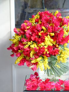 mimosa and sweet pea Yellow Bouquets, Hand Tied Bouquet, Artificial Flowers, Color Mixing, Flower Power, Floral Arrangements, Beautiful Flowers, Floral Wreath, Bloom