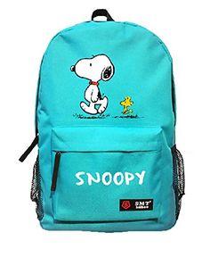 88175bbbb25 Amazon.com  Creative Anime Snoopy Unisex Cavans Student s School Bag  Backpacks Leisure Bag Shoulder Backpack (blue)  Sports   Outdoors