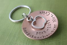 Personalized Teacher Gift - Best. Teacher. Ever. Keychain - Copper - Sterling Silver Apple Charm - Hand Stamped Accessories