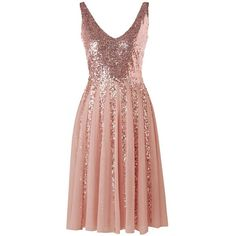 Pink 2xl Sleeveless Chiffon Sequined Dress ($20) ❤ liked on Polyvore featuring dresses
