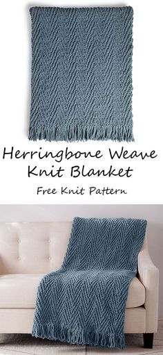 FREE EASY KNIT BLANKET PATTERN This herringbone knit blanket is an all-time favorite, loved for its rich appearance and easy design. Slipping stitches never looked so good! Easy Blanket Knitting Patterns, Easy Knit Blanket, Blanket Yarn, Knitted Afghans, Afghan Patterns, Easy Knitting, Knitted Blankets, Knitting Stitches, Ideas