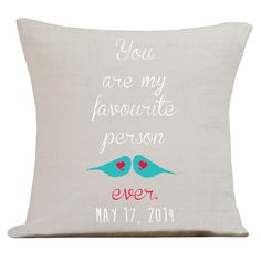 Personalized LOVE Wedding Pillow Cotton Anniversary Gift Cotton and Burlap Pillow Cover Choose your Date