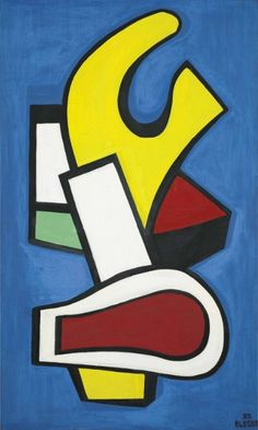 Composition architecturale 'fond bleu' (1952) by Fernand Léger