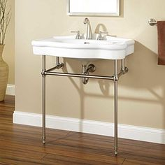 "32"" Nottingham Console Sink with Brass Stand - Chrome Signature Hardware http://www.amazon.com/dp/B00NZU6B50/ref=cm_sw_r_pi_dp_pbBGvb0CR67R5"