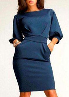 Navy Blue Lantern Sleeve Knee Length Pencil Dress with wrapped waistband.