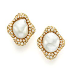 Pair of cultured pearl and diamond earrings by Harry Winston, c.1980