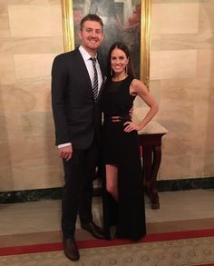 Chicago Cubs Pitcher, Mike Montgomery with Stephanie Duchaine, both looking absolutely stunning for the Cubs Presidential visit to The White House yesterday in a bespoke #Elevee ensemble. designed by @uscjend! #GoCubsGo #CubsInDC