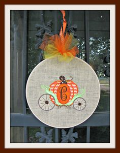 Fall Door or Wall Hanging with Appliqued Pumpkin by tinialabini