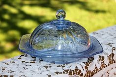 Vintage Depression Blue Madrid Round Butter Cheese Dome Tableware Server Federal #DepressionEra #FederalGlass