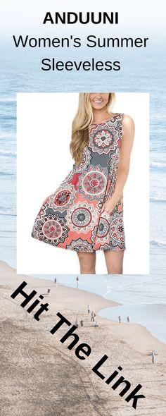 42192893ec ANDUUNI Womens Summer Sleeveless Floral Printed T Shirt Dress Causal Pockets  Tank Dress Blouses for Beach