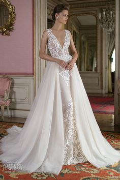 berta fall 2016 bridal elegant sleeveless deep v neckline lace sheath wedding dress attached a  line overskirt