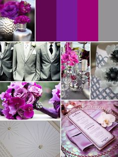 Tres Chic Weddings & Events: Gray & Purple Wedding Inspiration. (I'd choose gray and blue instead)