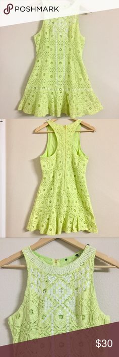 Light green dress Gorgeous dress for this summer . 60% cotton 40% nylon with 100% cotton lining with zippered back . Color is so pretty . Pictures didn't do justice . Measurements lying flat . 🔹Small - Bust :16 waist : 14 length : 30 Dresses